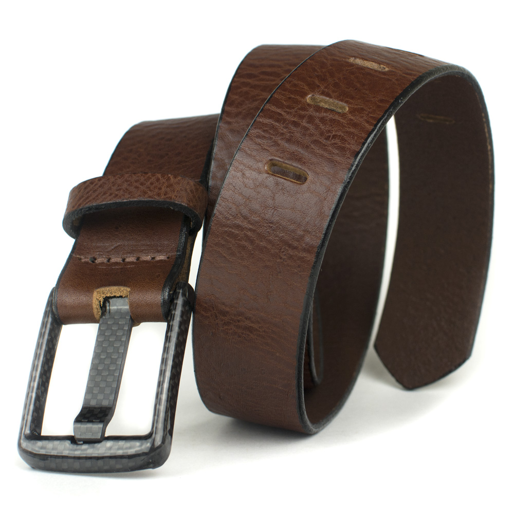 Carbon Fiber Wide Pin Brown Metal Free Belt - Made in USA
