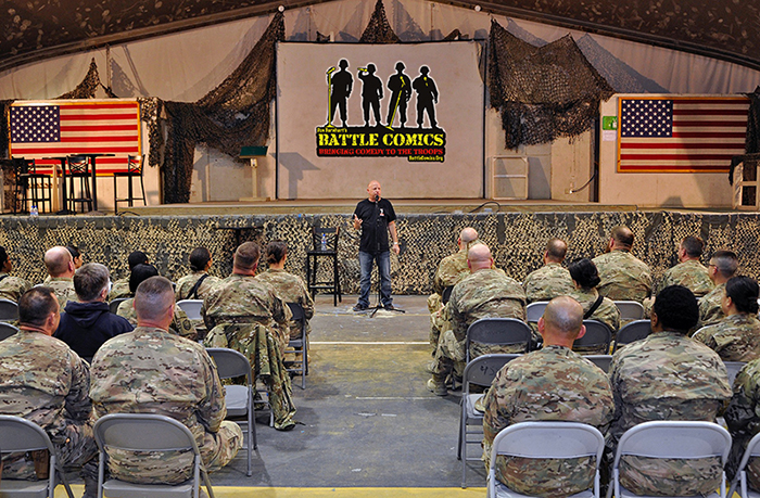 Don Barnhart Entertaining The Troops With Battle Comics