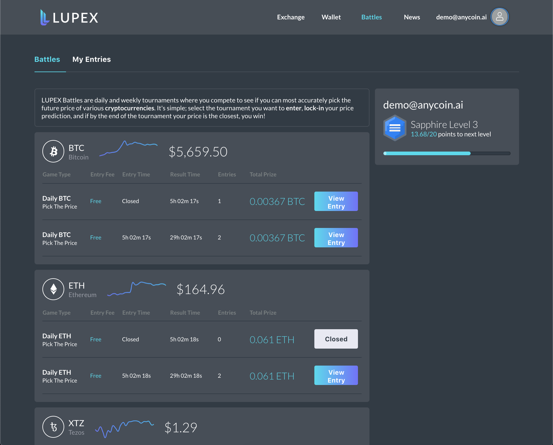 LUPEX BATTLES - Entry Page; Sign up and compete against other traders!