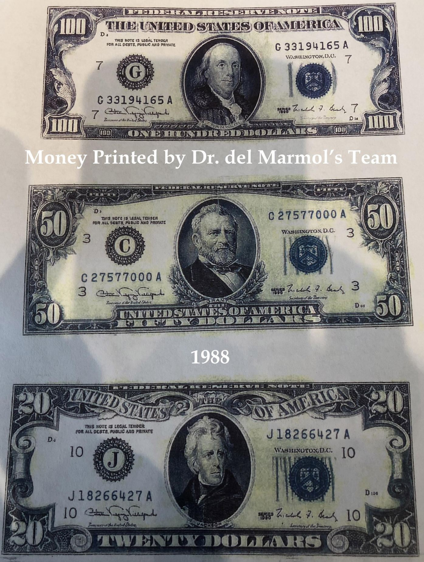 Money printed by Dr. del Marmol's Team in 1988