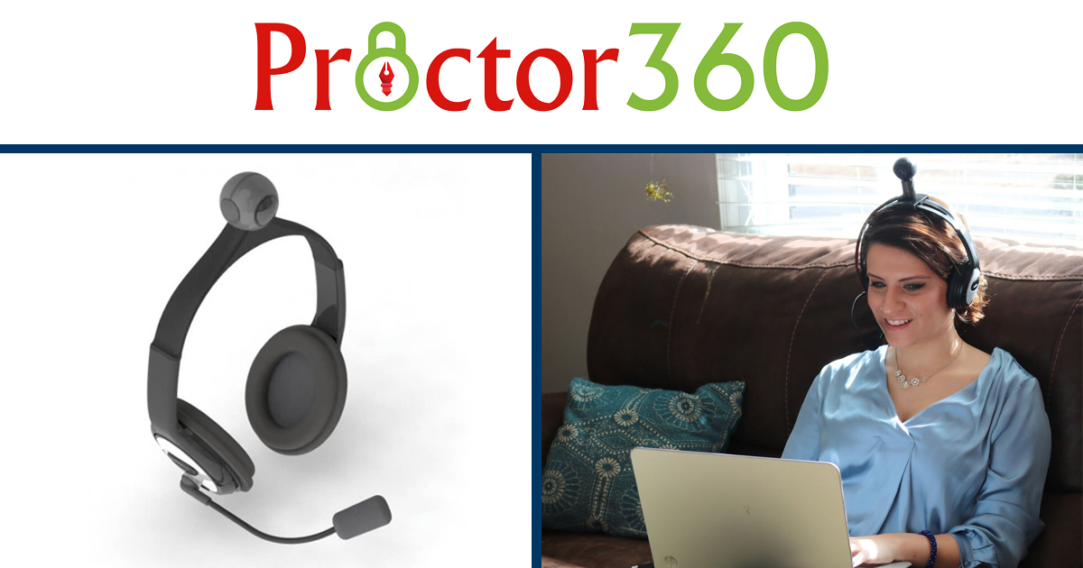 Proctor360's headset gives proctors a 360° view.