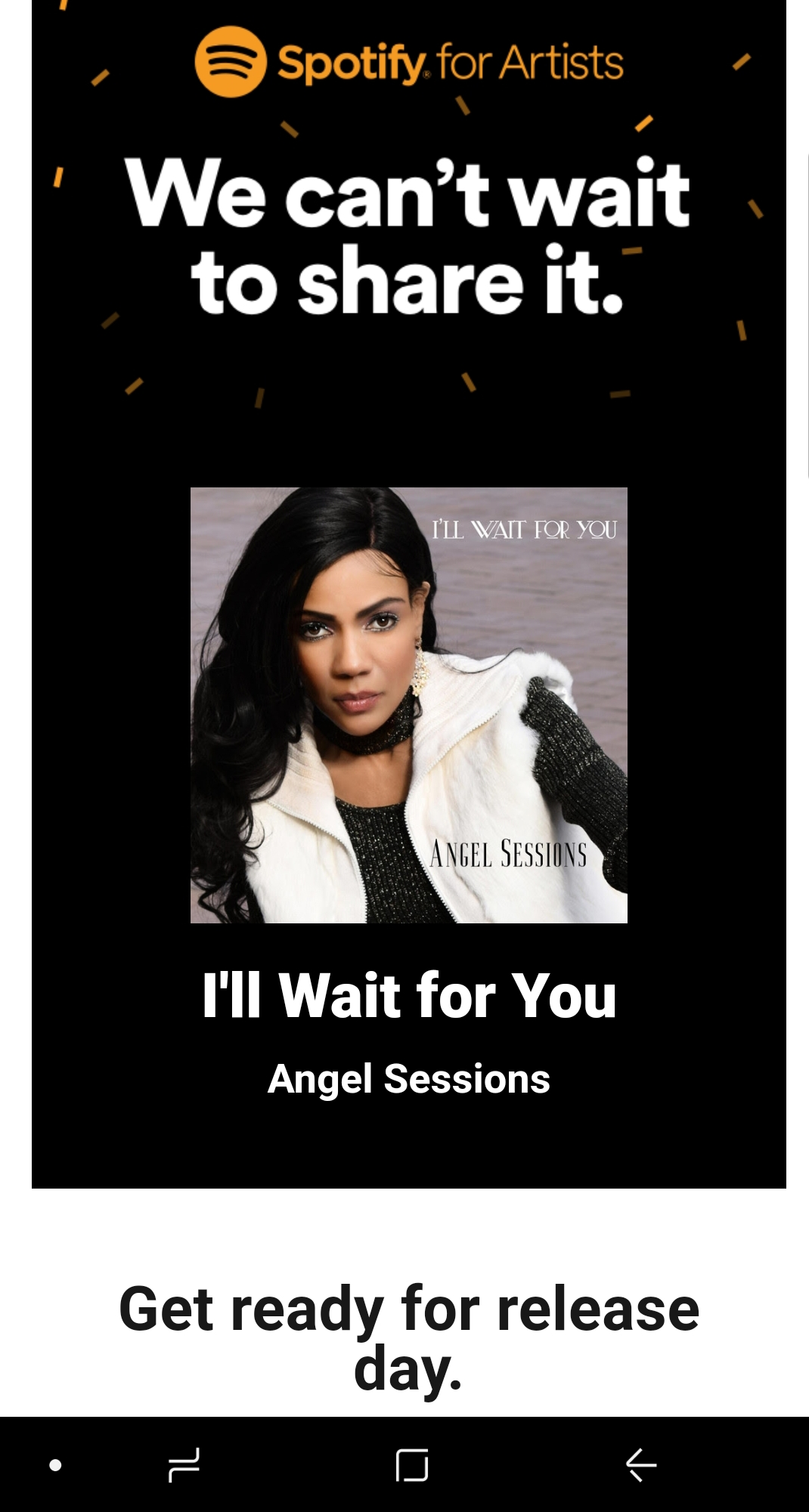 Spotify Advertisment for Angel Sessions I'll Wait