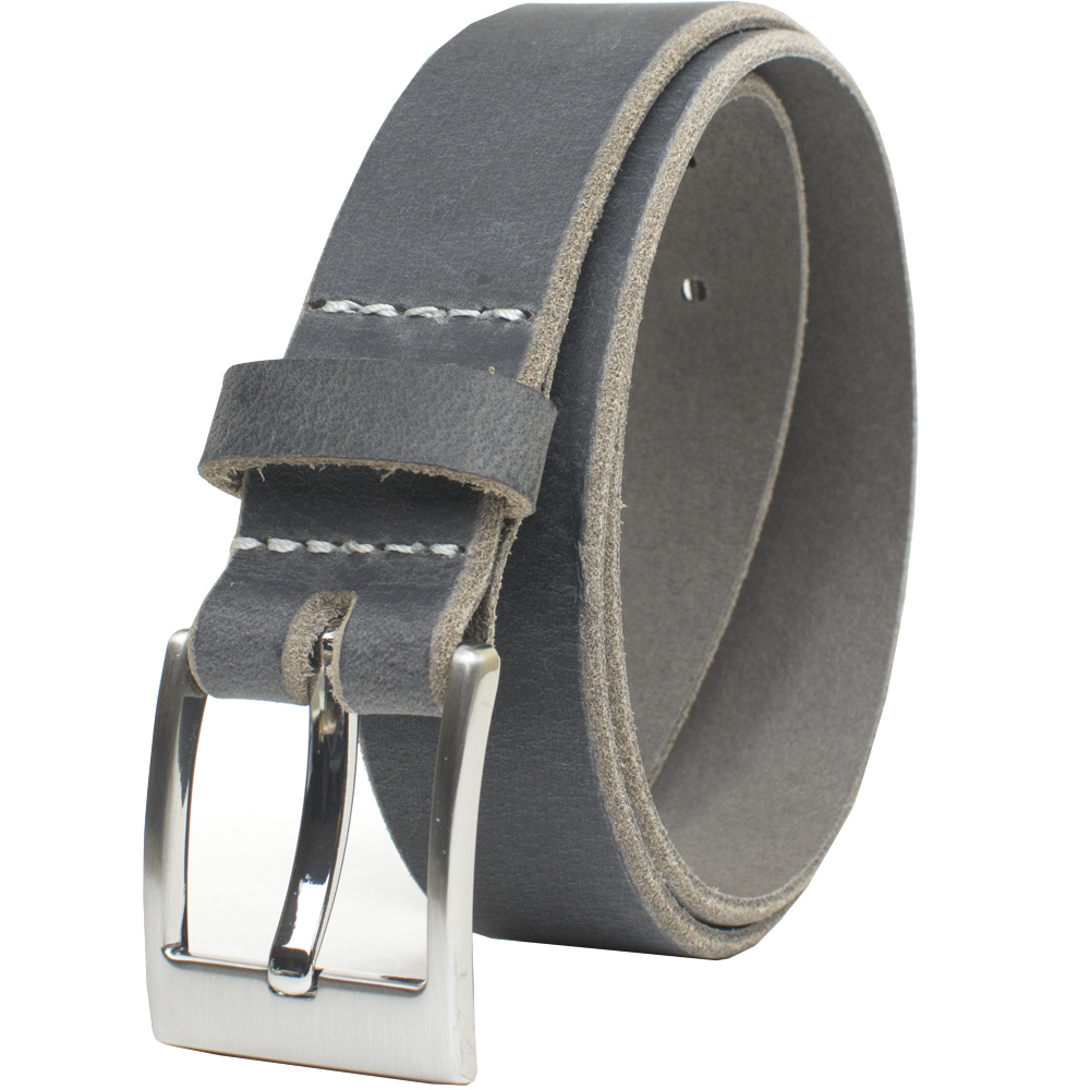 The Classified Distressed Gray Belt - carbon fiber buckle and full grain leather