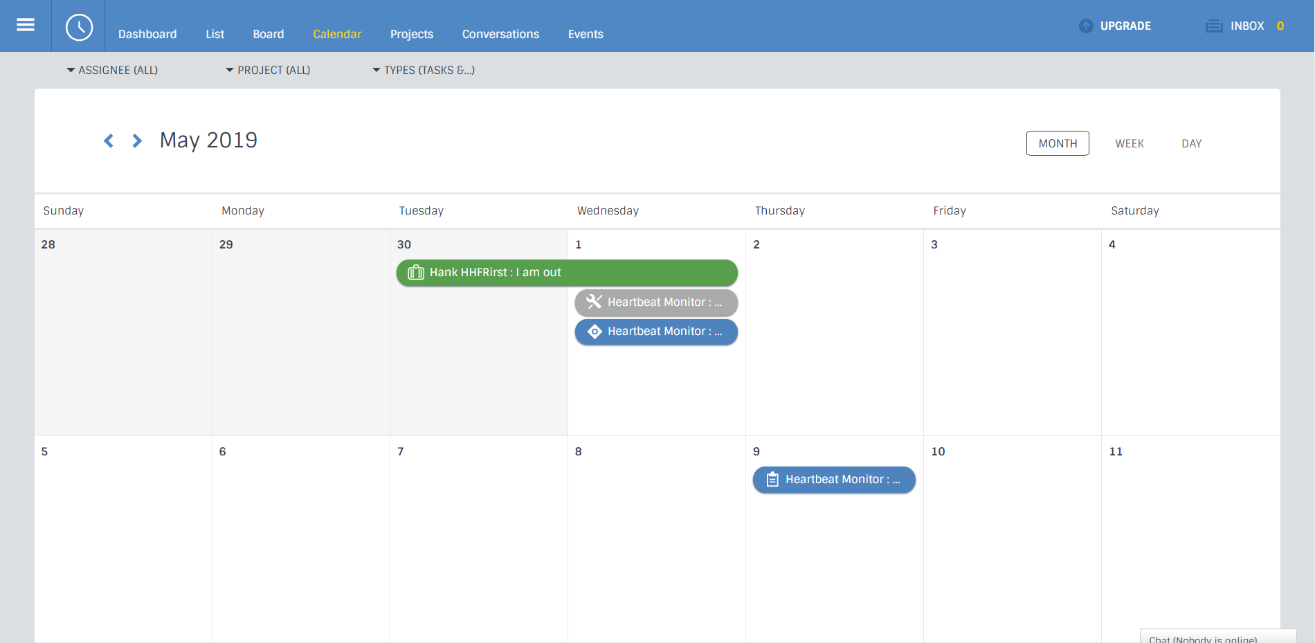 work management software calendar